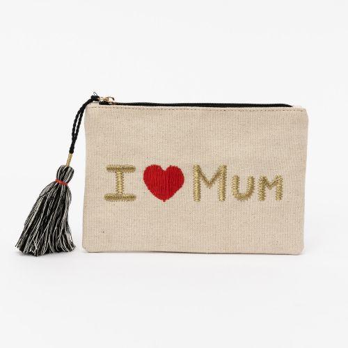 Pochette beige I Love Mum