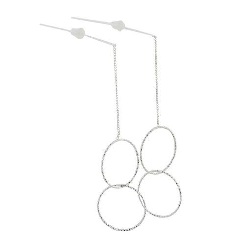 Boucles d'oreilles argentées chaine et anneaux Basiques
