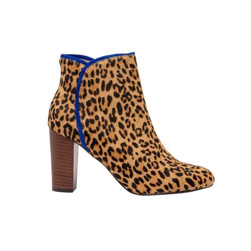 Bottines léopard en cuir suedé Ganache