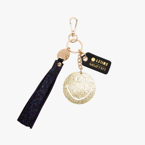 Porte-clés noir G-Smiley Glitter
