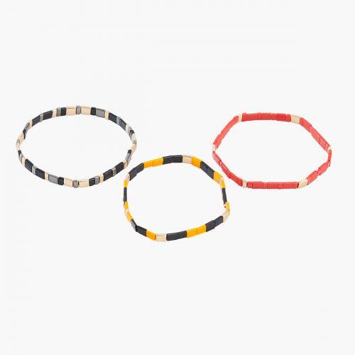Set de 3 bracelets multicolores
