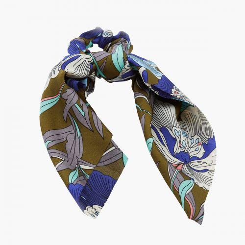 Chouchou foulard vert/bleu