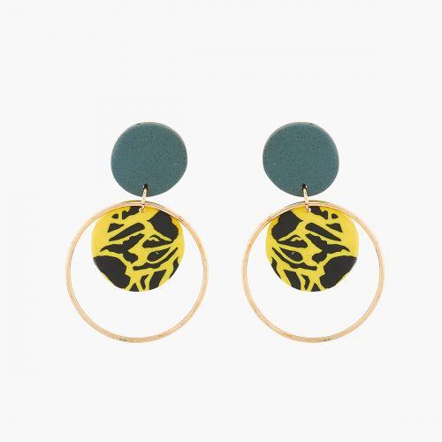 Boucles d'oreilles avec disques polymère.