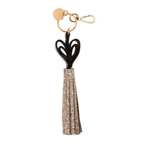 Porte-clés pompon doré Heart