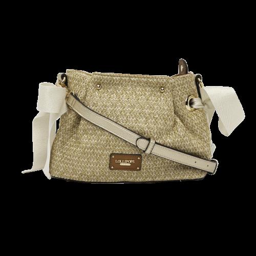 Sac bandoulière en textile beige H-Giulia