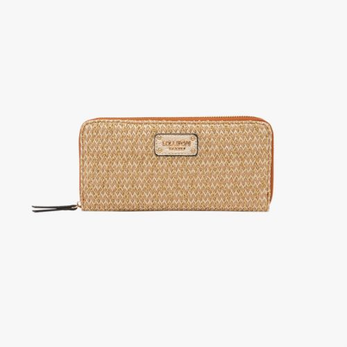 Portefeuille beige en textile H-Giulia