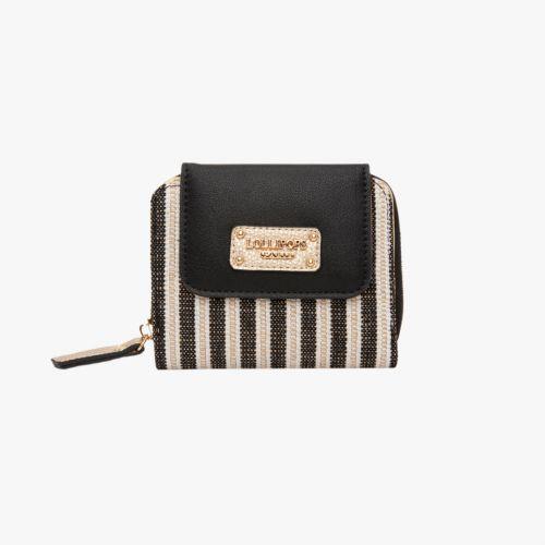 Porte-monnaie noir en toile H-Giulia