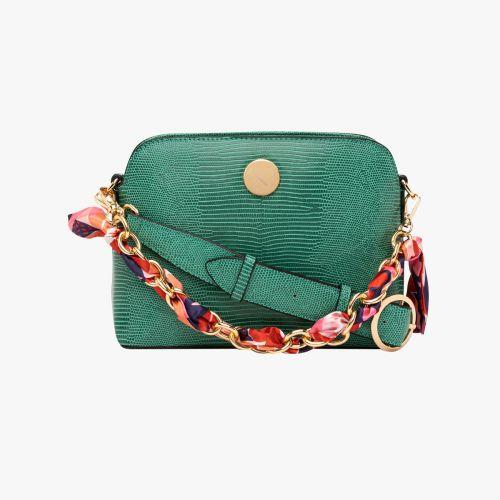Petit sac bandoulière lézard vert Hissy