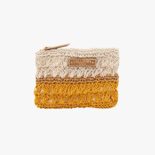Porte-monnaie en crochet jaune Hadele