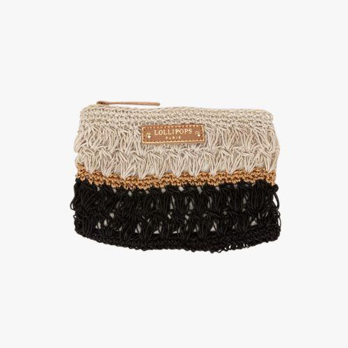 Porte-monnaie en crochet noir Hadele