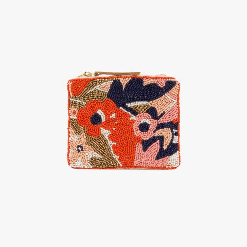 Porte-monnaie brodée de perles rouges/bleues Hanguun