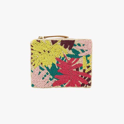 Porte-monnaie brodée de perles jaunes/roses Hanguun