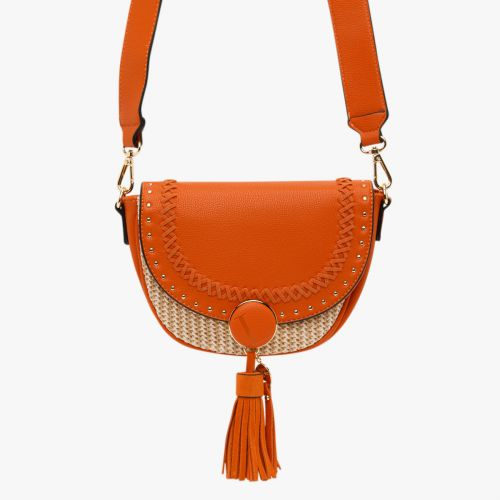 Petit sac bandoulière bi-matière orange Hoze