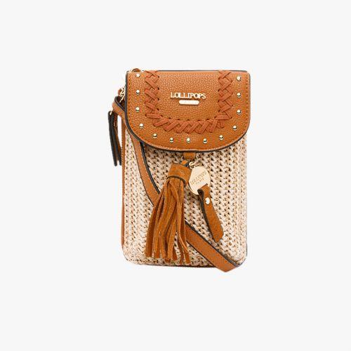 Pochette téléphone bi-matière camel Hoze
