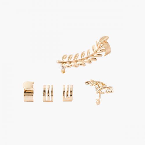 Set de 4 bijoux d'oreilles dorées