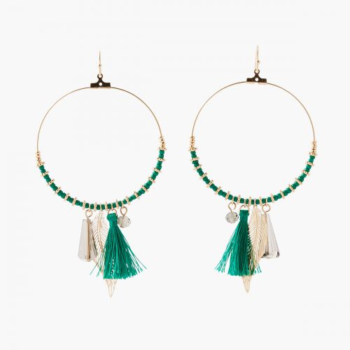 Boucles d'oreilles anneaux verts
