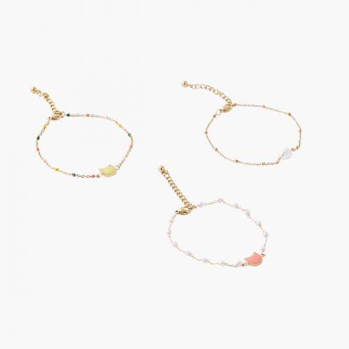 Set de 3 bracelets fantaisie doré