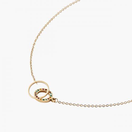 Collier doré double anneau strass