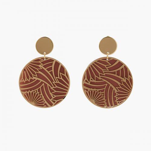 Boucles d'oreilles double disque roses/dorées