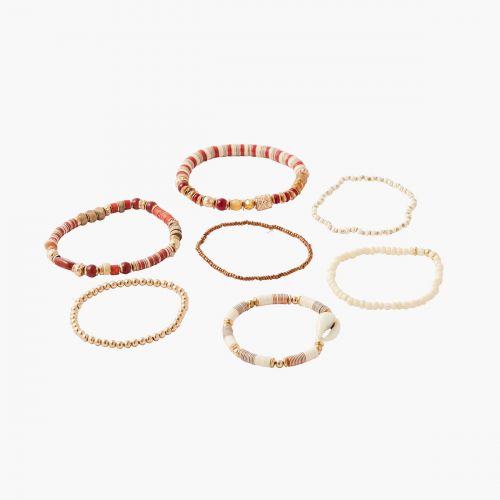 Set de 7 bracelets en perles multicolores