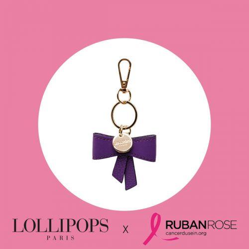 Porte-clés nœud violet Isaac Octobre Rose