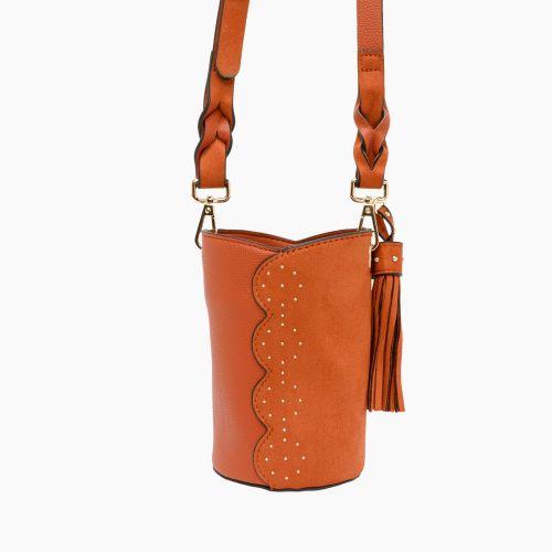 Petit sac seau orange à clous Inox