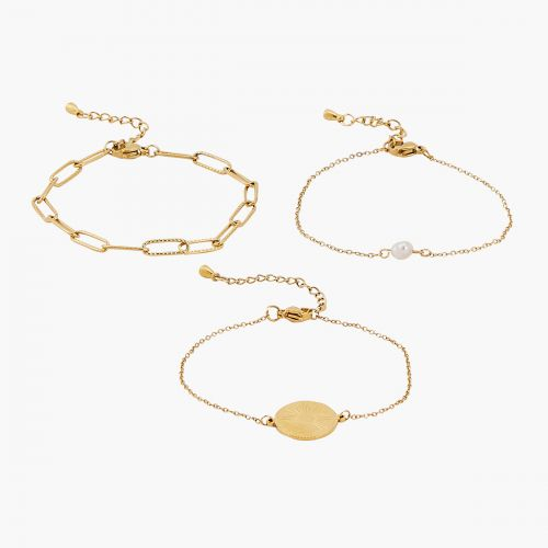 Set de 3 bracelets doré