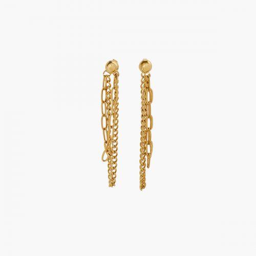 Boucles d'oreilles chaines dorées