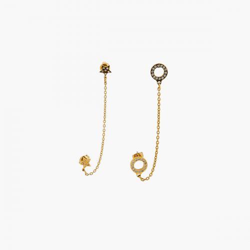 Set de 2 boucles d'oreilles chaines dorées