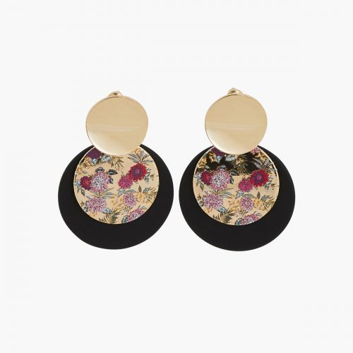 Boucles d'oreilles disques à fleurs