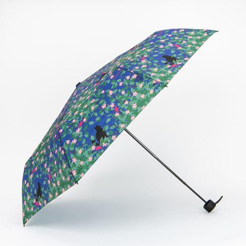 Parapluie pliable bleu à imprimé fleuri