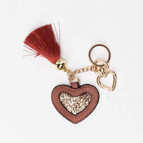 Porte clés cœur rose Elisabeth