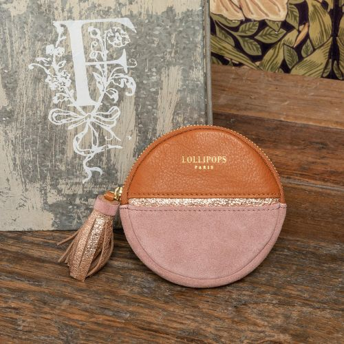 Porte-monnaie rond en cuir rose
