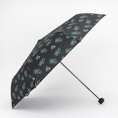 Parapluie pliable bleu marine imprimé fleurs orientales