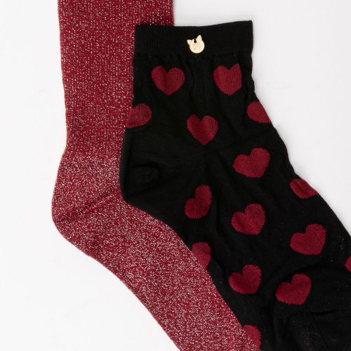 Lot de 2 paires de chaussettes prune