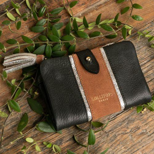 Porte-monnaie en cuir noir bicolore