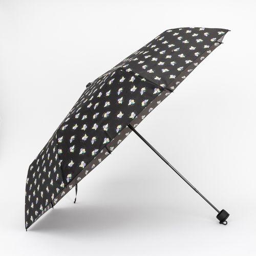 Parapluie pliable noir à imprimé printanier