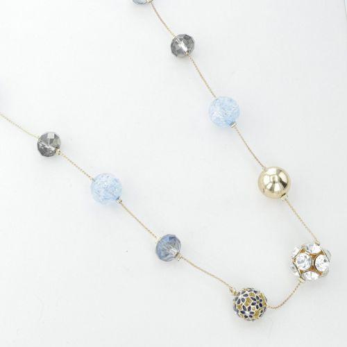 Collier sautoir à perles avec fleurs