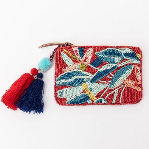 Petit porte monnaie tropical rouge