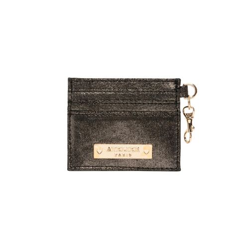 Porte-carte noir en cuir métallisé Falbala