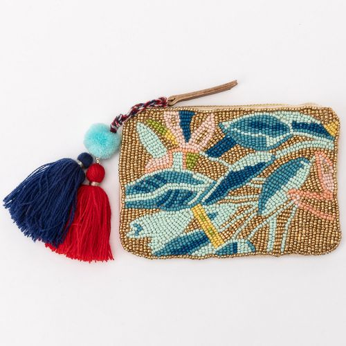 Petit porte monnaie tropical ecru