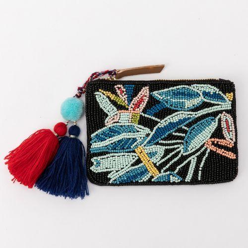 Petit porte monnaie tropical bleu