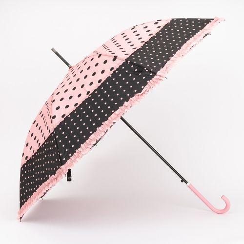 Grand parapluie à pois rose